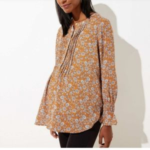 LOFT Maternity Floral Pintucked Henley Blouse S